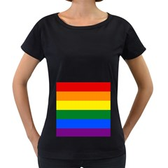 Pride rainbow flag Women s Loose-Fit T-Shirt (Black)