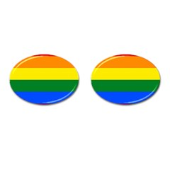 Pride rainbow flag Cufflinks (Oval)
