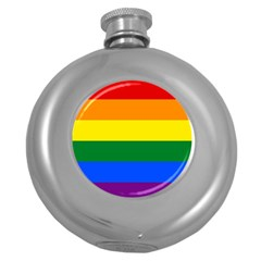 Pride rainbow flag Round Hip Flask (5 oz)
