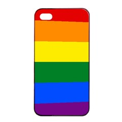 Pride rainbow flag Apple iPhone 4/4s Seamless Case (Black)