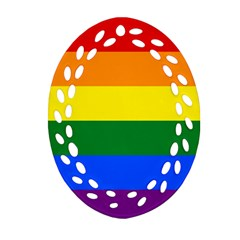 Pride rainbow flag Oval Filigree Ornament (Two Sides)