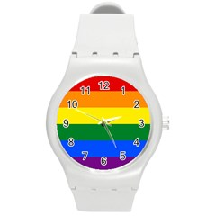 Pride rainbow flag Round Plastic Sport Watch (M)