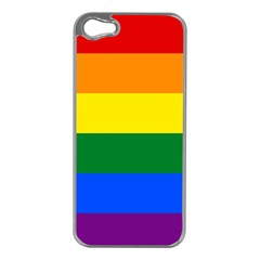 Pride rainbow flag Apple iPhone 5 Case (Silver)