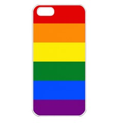 Pride rainbow flag Apple iPhone 5 Seamless Case (White)