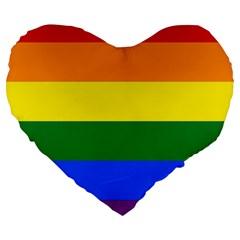Pride rainbow flag Large 19  Premium Heart Shape Cushions