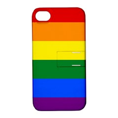 Pride rainbow flag Apple iPhone 4/4S Hardshell Case with Stand