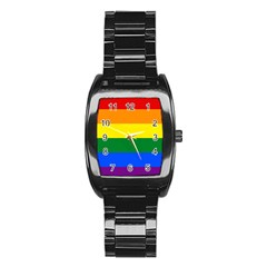 Pride rainbow flag Stainless Steel Barrel Watch