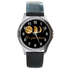 Moon phases  Round Metal Watch