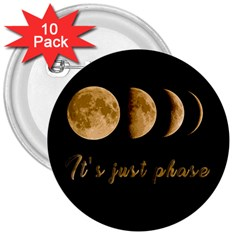 Moon phases  3  Buttons (10 pack)