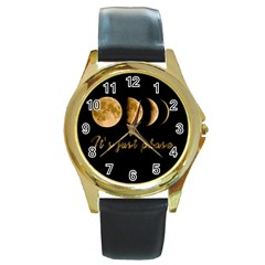 Moon phases  Round Gold Metal Watch