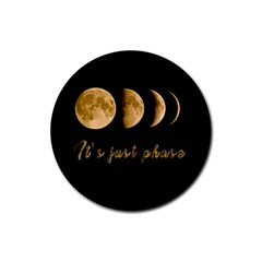 Moon phases  Rubber Round Coaster (4 pack)