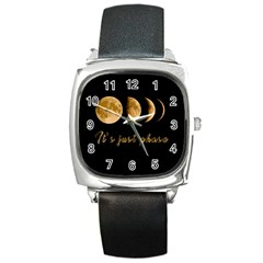 Moon phases  Square Metal Watch