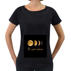 Moon phases  Women s Loose-Fit T-Shirt (Black)