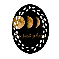 Moon phases  Oval Filigree Ornament (Two Sides)