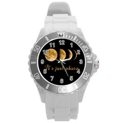 Moon phases  Round Plastic Sport Watch (L)