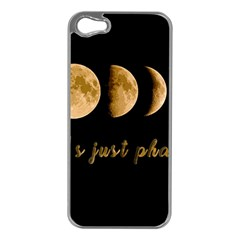 Moon phases  Apple iPhone 5 Case (Silver)
