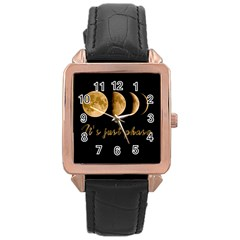 Moon phases  Rose Gold Leather Watch