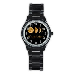 Moon phases  Stainless Steel Round Watch