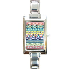 Tribal Print Rectangle Italian Charm Watch