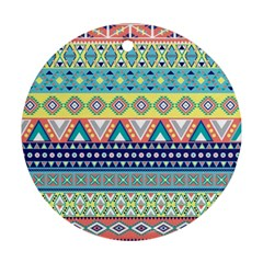 Tribal Print Round Ornament (two Sides)