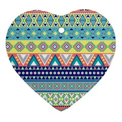 Tribal Print Heart Ornament (Two Sides)