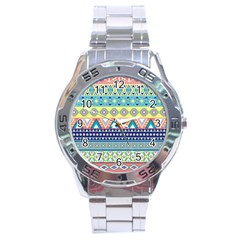 Tribal Print Stainless Steel Analogue Watch