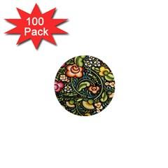 Bohemia Floral Pattern 1  Mini Magnets (100 pack)