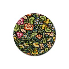 Bohemia Floral Pattern Rubber Round Coaster (4 Pack)