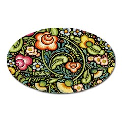 Bohemia Floral Pattern Oval Magnet