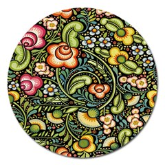 Bohemia Floral Pattern Magnet 5  (round)