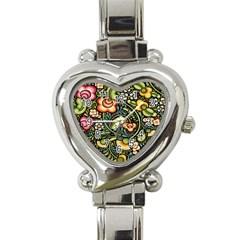 Bohemia Floral Pattern Heart Italian Charm Watch