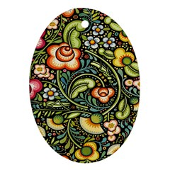 Bohemia Floral Pattern Oval Ornament (two Sides)