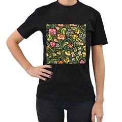 Bohemia Floral Pattern Women s T Shirt (black)