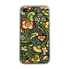 Bohemia Floral Pattern Apple Iphone 4 Case (clear)