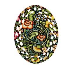 Bohemia Floral Pattern Oval Filigree Ornament (Two Sides)