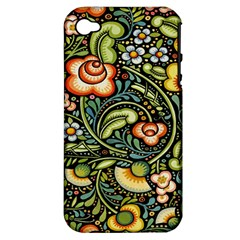 Bohemia Floral Pattern Apple iPhone 4/4S Hardshell Case (PC+Silicone)