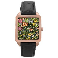Bohemia Floral Pattern Rose Gold Leather Watch