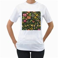 Bohemia Floral Pattern Women s T-Shirt (White)