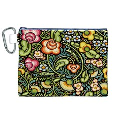 Bohemia Floral Pattern Canvas Cosmetic Bag (XL)