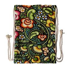 Bohemia Floral Pattern Drawstring Bag (large)
