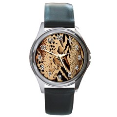 Animal Fabric Patterns Round Metal Watch