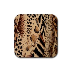 Animal Fabric Patterns Rubber Square Coaster (4 Pack)