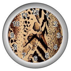 Animal Fabric Patterns Wall Clocks (Silver)