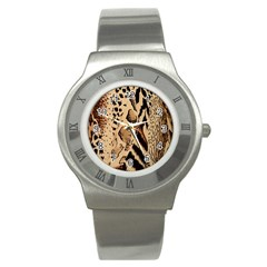 Animal Fabric Patterns Stainless Steel Watch