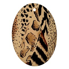Animal Fabric Patterns Oval Ornament (Two Sides)
