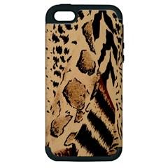 Animal Fabric Patterns Apple Iphone 5 Hardshell Case (pc+silicone)