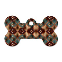 Knitted Pattern Dog Tag Bone (two Sides)