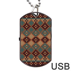 Knitted Pattern Dog Tag Usb Flash (two Sides)