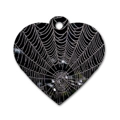 Spider Web Wallpaper 14 Dog Tag Heart (Two Sides)