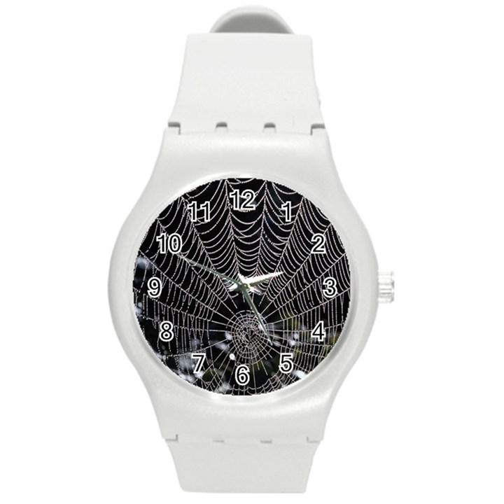 Spider Web Wallpaper 14 Round Plastic Sport Watch (M)